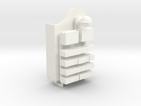 Dollhouse 1:24 bookshelf w/ novels, globe, books in White Processed Versatile Plastic