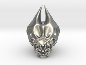 Bearded Skull in Natural Silver: Extra Large