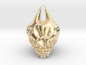 Bearded Skull in 14K Yellow Gold: Extra Large