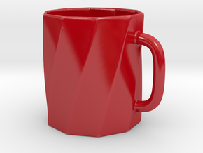 Twisted Beer Stein Mug in Gloss Red Porcelain