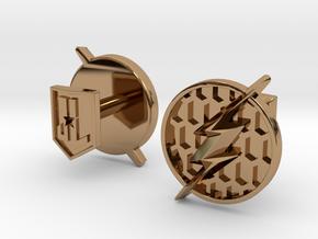 Flash cufflinks in Polished Brass