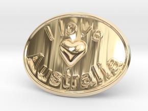 I Love Australia Belt Buckle in 14K Yellow Gold