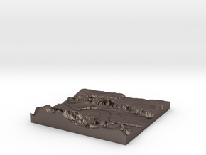 3D Relief map of Grays Thurrock & Tilbury in Essex in Polished Bronzed Silver Steel