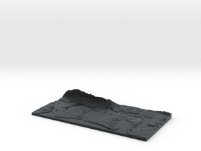 3D Relief map of Portsmouth, Langstone and Chiches in Black Hi-Def Acrylate