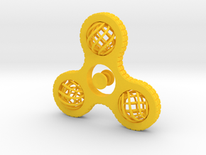 Fidget Spinner Globe in Yellow Processed Versatile Plastic
