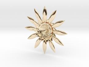 Fractal Flower Pendant VI in 14K Yellow Gold