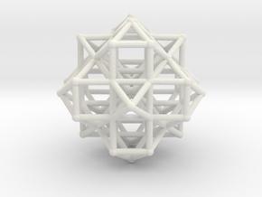 Vector Equilibrium Cluster 8VE 7Octa 50mm  in White Natural Versatile Plastic