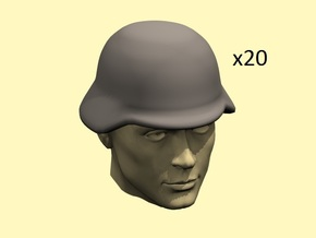 28mm WW2 German Helmets in Smoothest Fine Detail Plastic