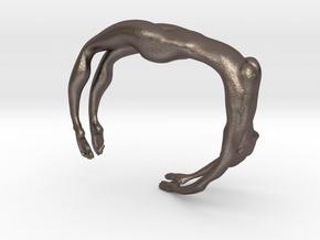 Female figure bracelet in Polished Bronzed Silver Steel