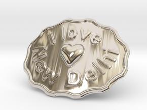 I Love New Delhi Belt Buckle in Platinum