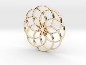 8 Petal Flower of Life Circles Rings Pendant in 14K Yellow Gold