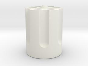 Gun Cylinder Pen Holder in White Natural Versatile Plastic