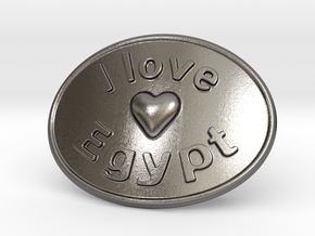 I Love Egypt Belt Buckle in Polished Nickel Steel