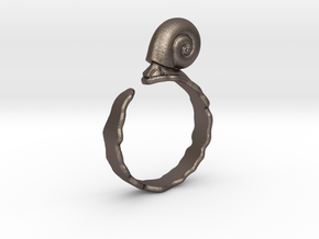 Ramshorn Ring - Size 6 in Polished Bronzed Silver Steel