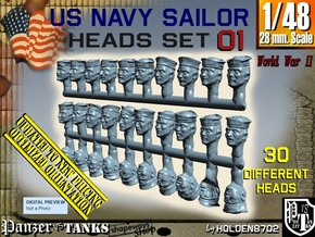 1/48 USN Dixie Cap Heads Set01 in Smooth Fine Detail Plastic