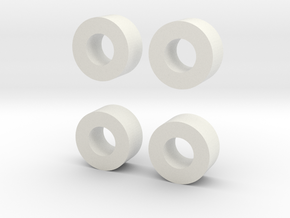 1:10 TRAIL BIKE WHEEL SPACERS in White Natural Versatile Plastic