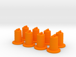 8 Traffic Barrels, Standard in Orange Processed Versatile Plastic: 1:64 - S