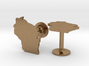 Cufflinks - Choose Any State (Wisconsin) in Natural Brass