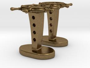 Ship wheel cufflinks in Natural Bronze