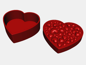 Hearts Box in Red Processed Versatile Plastic