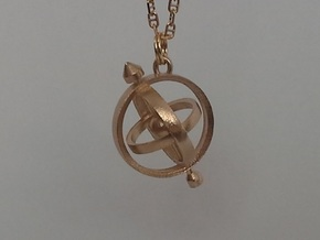 Armillary Pendant in Natural Brass