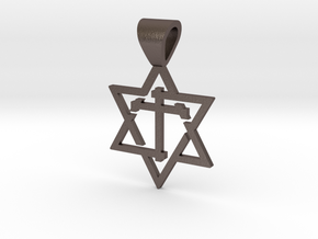 Star of David with the Cross in Polished Bronzed Silver Steel