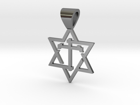 Star of David with the Cross in Polished Silver