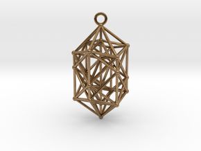 Hyperdiamond Crystal - 4D 24 Cell pendant in Raw Brass