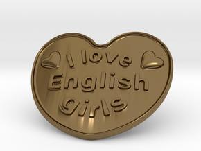 I Love English Girls in Polished Bronze