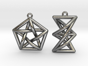 Forbidden Subgraph Earrings in Polished Silver