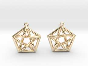 Complete Graph Earrings (K_5) in 14k Gold Plated Brass