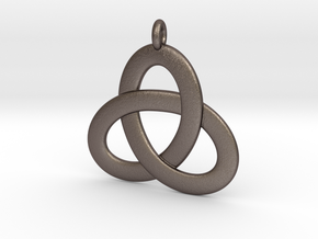 2.5D Open Triquetra Pendant 4.5cm in Polished Bronzed Silver Steel