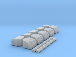 """1/400 5""""/38 Mk.28 Twin Mounts with Trunnions in Smoothest Fine Detail Plastic"""