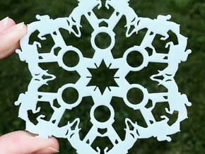 Jumping Horses and Show Ribbons Snowflake Ornament in White Natural Versatile Plastic