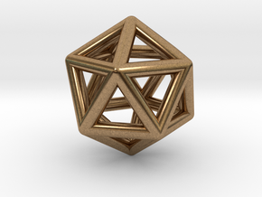 Icosahedron Golden Ratio Pendant in Natural Brass