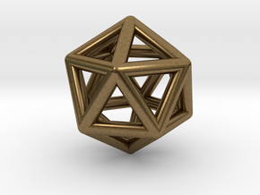 Icosahedron Golden Ratio Pendant in Natural Bronze