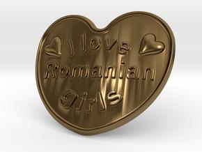 I Love Romanian Girls in Polished Bronze