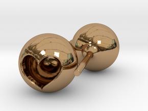 Heart Core Ball Earings in Polished Brass