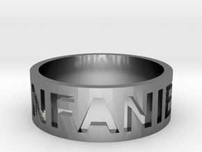 Craved Text Ring in Polished Silver