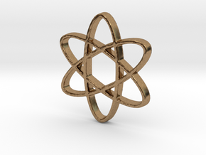 Science Atomic Whirl Pendant in Natural Brass