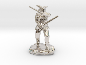 Dragonborn in Scale Mail With Swords and Bow  in Platinum