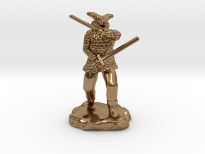 Dragonborn in Scale Mail With Swords and Bow  in Natural Brass