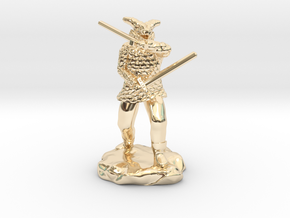 Dragonborn in Scale Mail With Swords and Bow  in 14k Gold Plated Brass