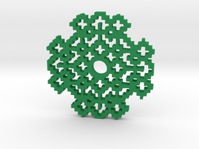 Drop Spindle Whorl--M and W in Green Processed Versatile Plastic