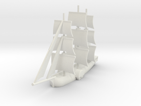 1/1000 Sailing Paddle Steamer version 1 in White Natural Versatile Plastic