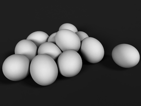 Ostrich Egg 1:25 Set of 12 Eggs in White Natural Versatile Plastic