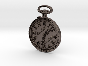 """""""I'm Late"""" Pocketwatch Pendant in Polished Bronzed Silver Steel"""