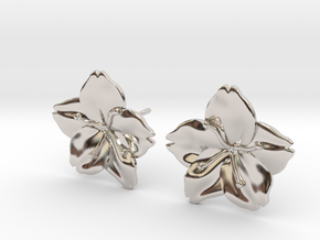 Sakura Stud Earrings in Rhodium Plated Brass