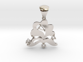 Pendant with bail PS001000020 in Rhodium Plated Brass