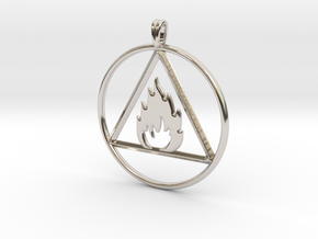 Ignis Alchemy symbol Fire Element Jewelry Pendant in Rhodium Plated Brass